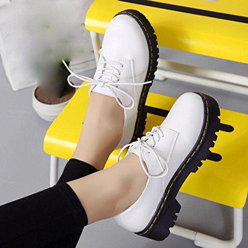 Transer® Damen Mädchen Mode Mokassins Casual Kunstleder+Plastik Schuh Retro Martin Stiefel Weiß