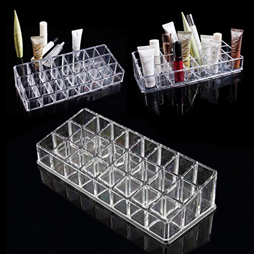 Discoball Cosmetic Make Up Clear Acrylic Lipstick Organiser with 24 Sections, Number 105