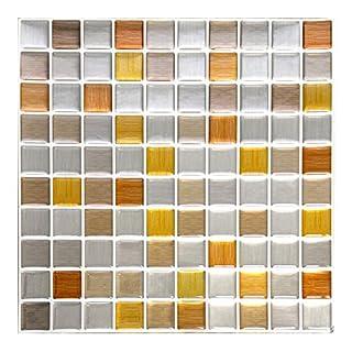 Wandora 4 Stück 25,3 x 25,3 cm Selbstklebende 3D Mosaik Fliesenaufkleber W1433 Kupfer dunkelgrau Silber