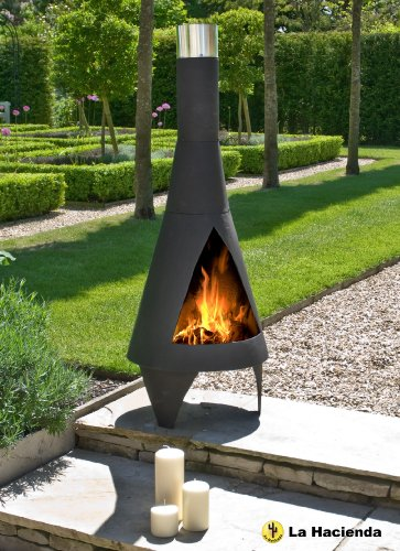 WorldStores Colorado Steel Chiminea - Medium Black