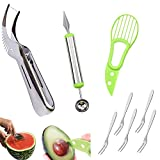 Affettatrice per anguria con coltello per affettare di avocado, coltello per intaglio di frutta Melon Scoop Bonus 5 forchette per frutta