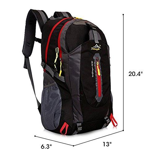 Imagen de senderismo , gindoly daypack 40l ligero resistente al agua casual camping trekking  bolsa de hombro para ciclismo viajes escalada mountaineer deporte al aire libre negro  alternativa