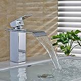 Obeeonr Quadrat Wasserfall Wasserhahn Einhebel Kupferkörper Waschtischarmatur Mischbatterie Armatur für Badezimmer Waschbecken