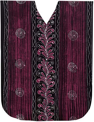 LA LEELA Frauen Damen Baumwolle Kaftan Tunika Batik Kimono freie Größe Lange Maxi Party Kleid für Loungewear Urlaub Nachtwäsche Strand jeden Tag Kleider Rosa_D318