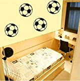 4 x Footballs - Wall Art Decal Sticker boy's bedroom hall living room FREE P&P