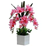 Jnseaol Kunstblumen Künstliche Blumen Orchidee Urlaub Geschenk Wohnzimmer Hochzeit Party Küche Hause Eine Große Verzierung Plastiktopf DIY Pink-05