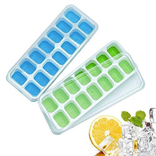 Eiswürfelbehälter aus Silikon mit Deckel, einfache Entnahme, 14-Fach mit abnehmbarem Verschüttungsdeckel, Eiswürfelform geeignet für Whiskey, Cocktail, Getränke, 2 Stück Eiswürfelformen (blau&grün)