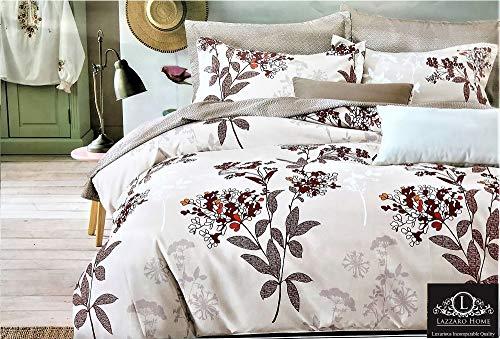 LAZZARO Vintage pflegeleicht, bügelfrei Bettwäsche Set Doppelbett, Weiß und Rot, Baumwollmischung, Multi, Doppelbett