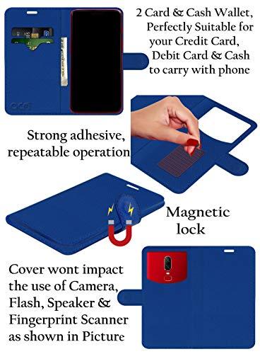 Acm Leather Window Flip Wallet Front & Back Case for Alcatel A7 XL Mobile Cover Blue