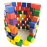 100PCS Wooden Cubes Square Wood Building Block, Colorful 2.5cm Wooden Stacking Block Set Baby Gift present(2.5CM,Colorful)