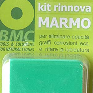 kit rinnova MARMO per eliminare opacità, graffi, corrosioni, incrostazioni e rifare la lucidatura a specchio su marmi ad alto contenuto carbonatico e travertini