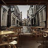 LONGYUCHEN Benutzerdefinierte 3D-Seide Wandbild Tapete Europäischen Retro Nostalgie Stadt Street View Wandbild Casual Restaurant Bar Wohnzimmer,80Cm(H)×150Cm(W)