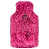 Luxus-Wärmflasche mit extra weichem Kunstpelz-Cover | 2 Liter Premium-Naturkautschuk-Wärmflasche (Hot Pink) preisvergleich bei billige-tabletten.eu