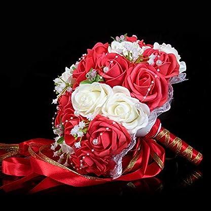 Godagoda Flor Boda Bouquets de Boda Ramo de Novia Perlas Flores Artificiales decoración Accesorios Encaje
