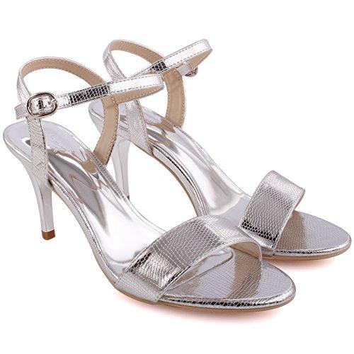 Unze Frau Carolyn' Strap Mid Low High Heel Party Prom Zusammen Karneval Abend Block Heel Sandalen Größe 3-8 - 8T8238-713 Silber