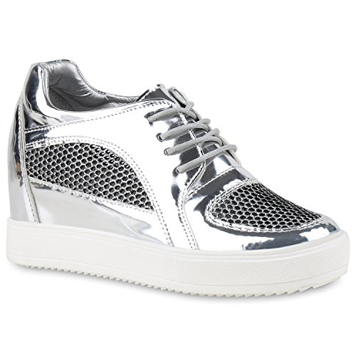 Sneaker-Wedges Damen Keil Absatz Turnschuhe 90's Look Freizeit Silber Metallic Weiss
