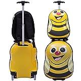 COSTWAY Kinderkoffer + Rucksack Kofferset Kindergepäck Reisegepäck Kindertrolley Kinderreisekoffer Hartschale Trolley Tiermotiv (Gelb)