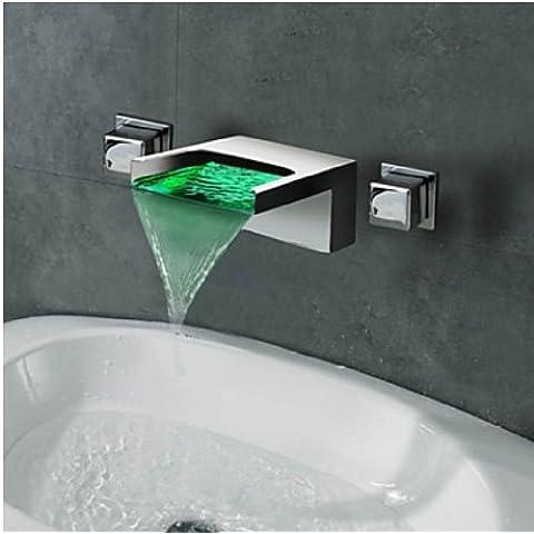 Rozin cascada 3colores LED soporte de pared grifo de baño grifo mezclador monomando para grifo
