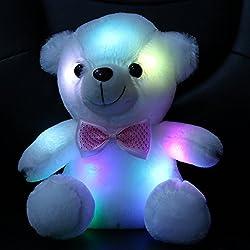 WEWILL Marca Luz de la noche colorida LED brillan oso de peluche luminoso animales de peluche para niños regalo de cumpleaños de Navidad Valentines, Soft Toy, 8-Inch/ 20 cm