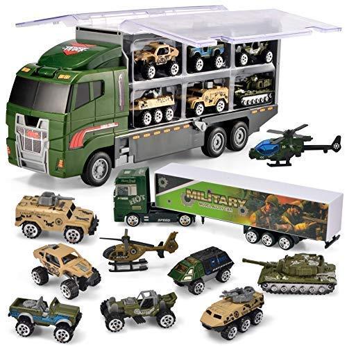 JOYIN 10 in 1 Mini Militär Autos Spielzeug, Armee Fahrzeug Kampfwagen LKW Spielzeugset im Lastwagen für KinderJunge Mädchen