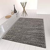 Alfombra Prime tipo shaggy de pelo largo en color turquesa, alfombras modernas para el salón y el dormitorio , Maße:120x170 cm, Farbe:Anthrazit