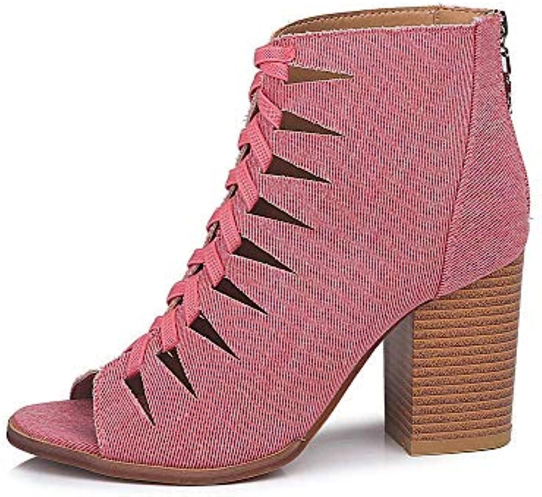 FuweiEncore Bottes Dames Chaussures Chaussures Dames Bottes Femmes Automne Denim Bouche de Poisson évider Martin Bottes Courtes... 8f71be