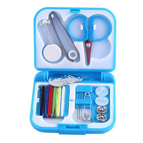 Tragbare Nähzeug Box Nadelfäden Scissor Buttons Pins Home Tools(Blue)