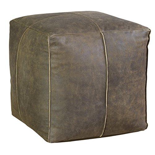 Jute & Co poufpeqmar Puf Cubo, piel, marrón, 38x 38x 38cm