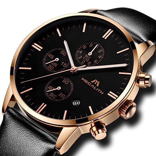 Herren Uhren Rosegold Männer Chronograph Sport Wasserdicht Luxus Mode Datum Kalender Designer Armbanduhr Geschäfts Beiläufig Elegant Kleid Stoppuhr Analog Quarz Uhr mit Schwarz Lederband (Roségold)