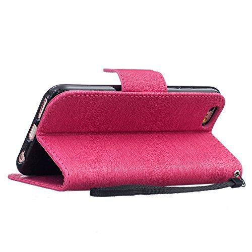 Schutzhülle für Apple iPhone 5 / 5S / SE Grau, TOCASO Ultra Thin PU Leder Flip Cover Tasche Ledertasche Handytasche Hülle für iPhone 5 / 5S / SE Buchstil Handyhülle Protective Case Etui Bumper Schale  Rose Red