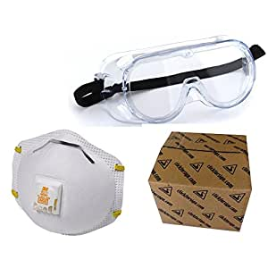 3M 1621 Chemical Protection Safety Goggle and 3M 8511 Niosh Approved N95 Swine Flu N1H1 Protection Mask Combo