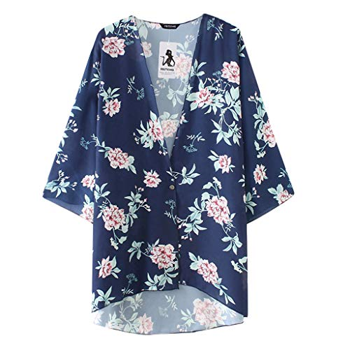 JMETRIC_Strandbluse Feitong 8787 Damen Florale Kimono Cardigan Bikini Oberteile Cover Up Strand Chiffon Strickjacke Bluse(Marine,M)