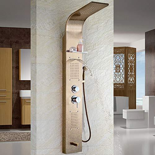 Duschsystem, Duschwand Duschset Edelstahl-Haushalt Wandmontage Multi-Out-Wasser-Badezimmer Dunkle...
