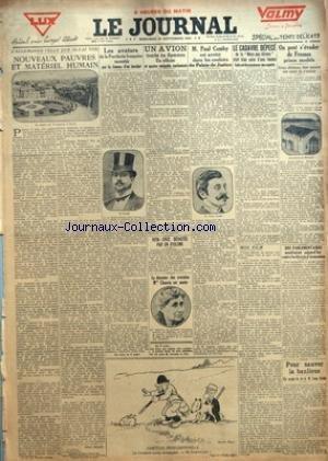 JOURNAL (LE) [No 12400] du 29/09/1926 - L'ALLEMAGNE TELLE QUE JE L'AI VUE - NOUVEAUX PAUVRES ET MATERIEL HUMAIN PAR HENRI BERAUD - LES AVATARS DE LA PORCHERIE FRANCAISE RACONTES PAR LA FEMME D'UN INCULPE - HABITUDE PROFESSIONNELLE - UN AVION TOMBE EN FLAMMES - UN OFFICIER ET QUATRE SERGENTS CARBONISES - VERA-CRUZ DEVASTEE PAR UN CYCLONE - LA DOYENNE DES AVOCATES MLLE CHAUVIN EST MORTE - M. PAUL COMBY EST ARRETE DANS LES COULOIRS DU PALAIS DE JUSTICE - LE CADAVRE DEPECE DE LA MARE-AUX -CHIENS ET