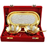 Adidev Brass Silver And Gold Plated Designer Bowl Set With Serving Spoons And Serving Trays For Using Guest,dinner Set,serving Sets.