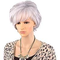 Capelli corti ricci AYUOP per le donne anziane Capelli grigi bianchi con  frangia Parrucca piena capelli sintetici. 10cacc89cb44