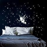 Leuchtsticker Wandtattoo Elfe Fee Sternenhimmel mit Sterne fluoreszierend M2331 ilka parey wandtattoo-welt®