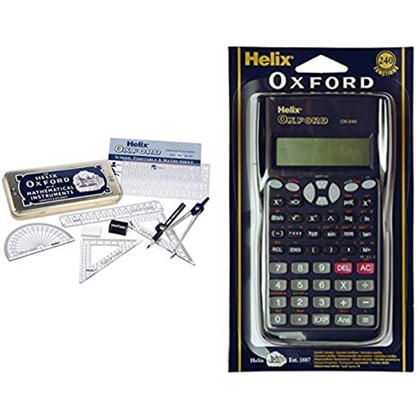 Helix Oxford Scientific Calculator With Cover /& Helix Mathematical Instruments