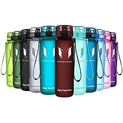 Super Sparrow Botella de agua deportiva - 500ml & 1000ml - Eco amigable y sin plásticos BPA - Flujo de agua rápida, Flip Top, se abre con 1-Click - Reutilizable con tapa a prueba de fugas - Para correr, Gimnasio, Yoga, Aire libre y Camping (Rojo Imperial, 350ml-12oz)