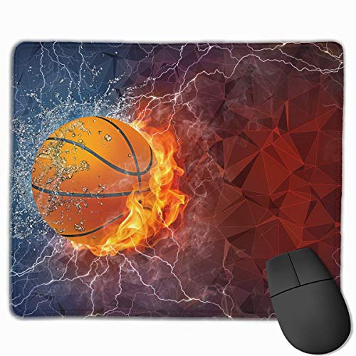 ASKSSD Mouse Pad Fire Water Flash Basketball Sport Rectangle Non-Slip 9.8in11.8 in Unique Designs Gaming Rubber Mousepad Stitched Edges Mouse Mat (Bulk Billig In Basketbälle)