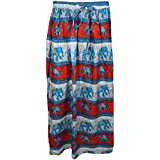 Mogul Interior Womans Festive Skirt Blue Elephant On Parade Fashion Flashback Gypsy Long Skirts S