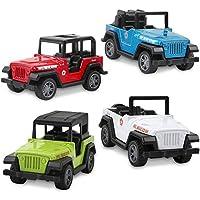 BeebeeRun Voiture Miniature 4 Pièces Jeep Mini Véhicule Jouet Cadeaux pour Bébé Enfants Filles Garçons 3 Ans