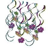 non-brand Sharplace 16pcs Foil Hanging Swirls Banner Girland für Hawaiisch Sommer Party Kinderparty Deko