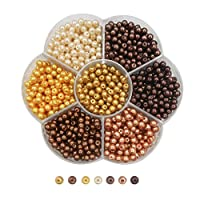 TOAOB 1050 pcs 4mm Multicoloured Round Glass Pearl Beads Coloured Faux Tiny Pearl Beads for Jewelry Making Decoration Necklace Earrings