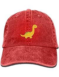 Osmykqe Sombrero Amarillo Lindo del Dril de algodón del Dinosaurio Gorras  de béisbol clásicas Unisex Ajustables cef96a92b1b