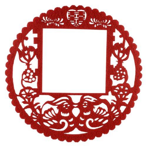 sourcing map Chinois Mandarin Canards en Papier Motif Fleurs de Plaque d'interrupteur Mural Rouge
