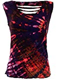 Guru-Shop Batik-Top, Tie Dye Cut Top, Damen, Violett, Viskose, Size:38, Tops, T-Shirts, Shirts Alternative Bekleidung