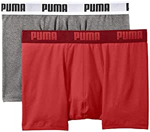 Puma 521015001 - Boxer - Uni - Lot de 2 - Homme - Rouge (Red) - Small (Taille fabricant: 10)