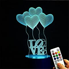 Idea Regalo - Deerbird® 4 palloncini di amore cuore Illusione visiva 3D 7 Modifica del colore LED Telecomando Lampada da scrivania USB Luce notturna con Elegante Base Bianca per La madre di Giorno Regalo del festival
