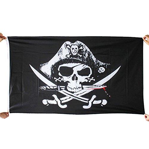 gge 3X5 ft / 90x150cm Schwarz Weiß Schädel-Flagge Dekorative Jolly Roger Flagge mit Canvas-Header und Messing Tüllen für Themed Party Cosplay bardekor (Messer) ()